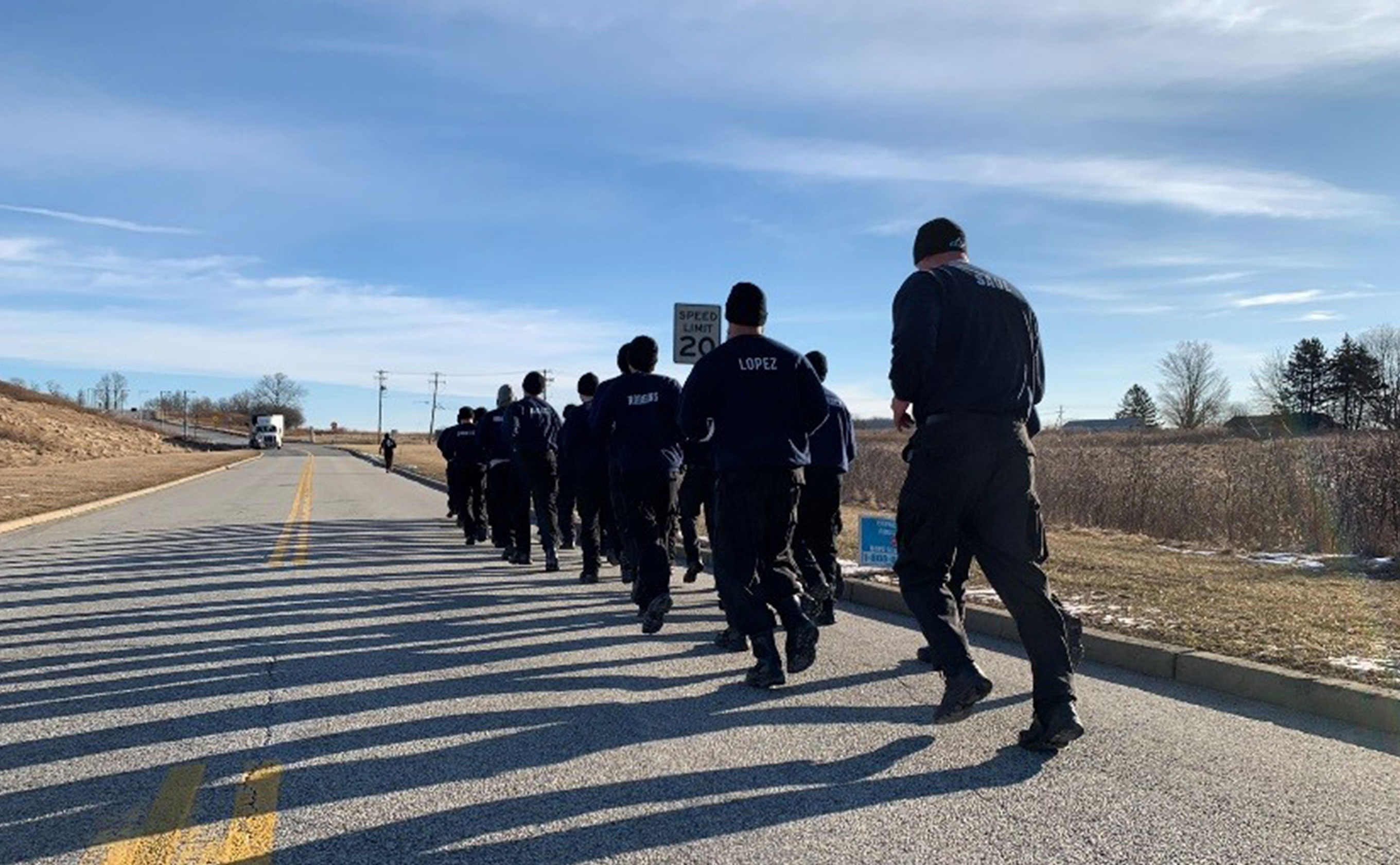 Officers jogging on the road